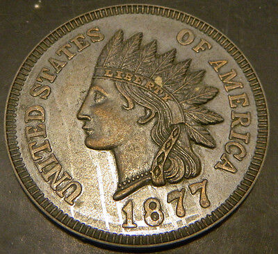 "Vintage Oversized 3"" United States 1877 Indian Head One Cent Coin Excellent"