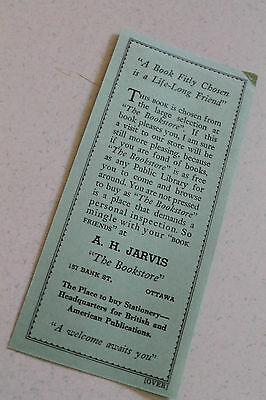Vintage Paper Collectable Bookmark Ah Jarvis 1946 Ottawa