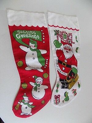 Vintage Christmas Decor Flannel Christmas Stockings Lot of 2