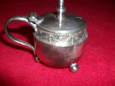 Silver Plated Mustard Pot.  No Marks.