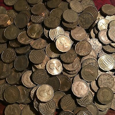 Brass Threepence Pieces Job Lot Of 20 Dated Between 1937-1967 Taken At Random