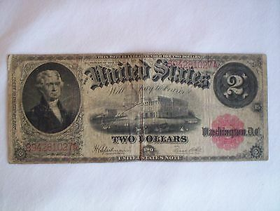 1917 Thomas Jefferson Red Seal Banknote Large Size $2 Two Dollar Bill Note