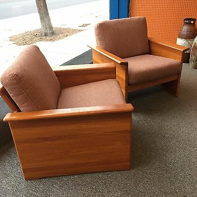 PAIR of Teak Framed Tarm Stole Danish Modern Lounge Chairs c1970s