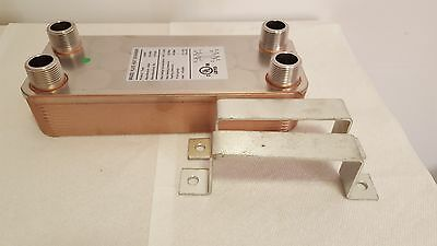 "NEW! 30 Plate Water to Water Brazed Plate Heat Exchanger 1"" MPT Ports W/Brackets"