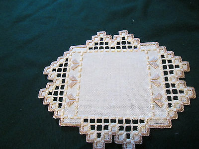 Hardanger  Doily Norwegian Embroidery Ivory - with Ivory - Light Tan Hand Made