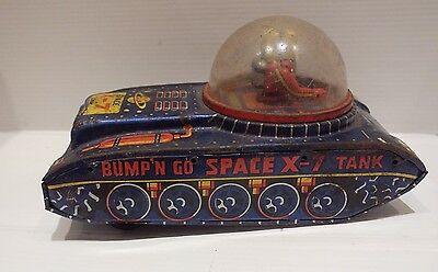 Vintage Japanese Tin Plate C.1960's Space X-7 Tank - Original Condition -