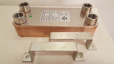 "NEW! 40 Plate Water to Water Brazed Plate Heat Exchanger 1"" FPT Ports W/Brackets"
