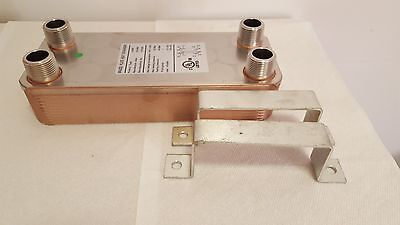 "NEW! 40 Plate Water to Water Brazed Plate Heat Exchanger 1"" MPT Ports W/Brackets"