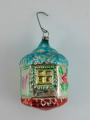 Antique Glass House / Home with blue roof Christmas Ornament