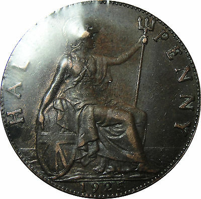 1925 Great Britain 1/2 Penny XF Coin