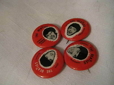 """FOUR 1964 Red 7/8"""" THE BEATLES Pins w/ Full names including Ringo """"Rings"""" Starr"""