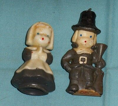 vintage THANKSGIVING GURLEY CANDLE LOT OF 2 (male + female pilgrim puritan)