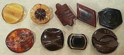 Antique Bakelite Buttons Large Two Tone Tortoise
