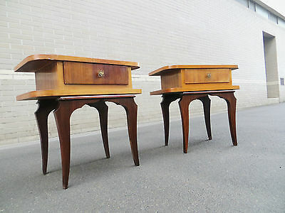 Paire tables chevets années 50 art déco side tables nightstands