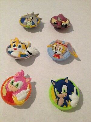 New Sonic shoe charm set of 6 USA Seller+ Free Shipping