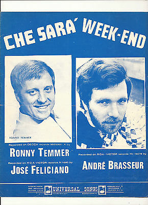 TRES RARE - Partition 1971 - ANDRE BRASSEUR - Che sara' - Week-end - R. TEMMER