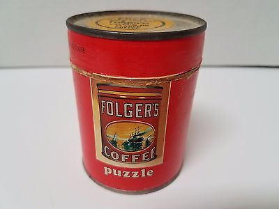 VINTAGE 1980's FOLGER'S COFFEE PROMOTIONAL PUZZLE IN OPENED CANISTER