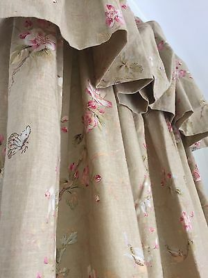 9Ft Victorian Long Bespoke Design Service French Linen Country Floral Curtains