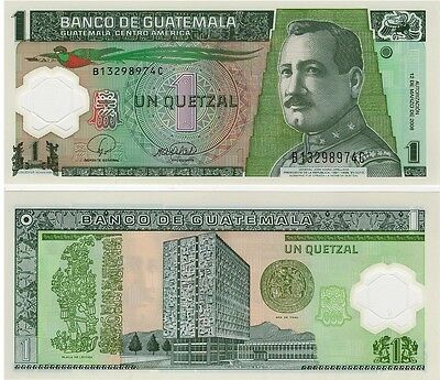 Guatemala   1 Quetzal  2008   P-115  Unc  Polymer Banknote, Central America