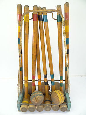 Vintage Used Wood Croquet Set Wooden Balls Cart Yard Game Wickets Stand Clubs