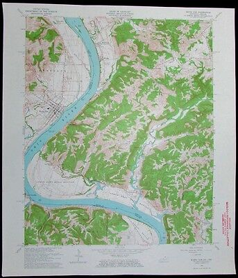 Rising Sun Kentucky Indiana Ohio River vintage 1963 old USGS Topo chart