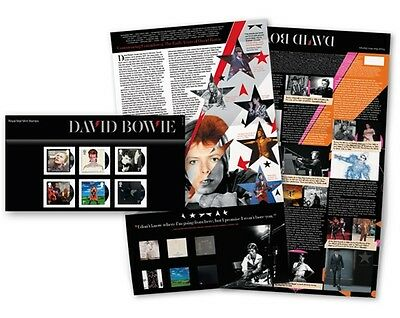 DAVID BOWIE STAMP PACK featuring ALBUM COVERS/TOURS PRE ORDER 14/3/2017 DELIVERY