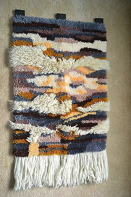 Vintage Finished Latch Hooked Shag Rug Wall Hanging from the 1970's