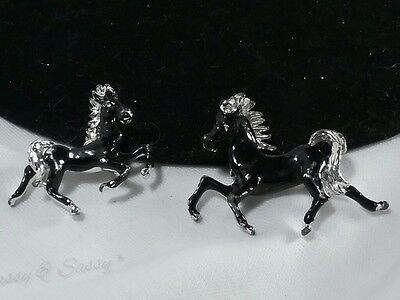 Vintage Silver Black Horse Stallion Pony Equestrian Scatter Set of 2 Brooch Pins