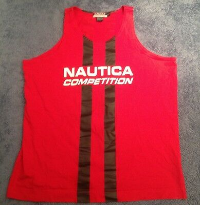 Vtg 90's Nautica Competition Red Tank Shirt Men's Large