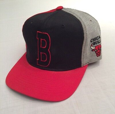 Vtg Starter Chicago Bulls NBA Basketball Letterman Heather Snapback Hat Script