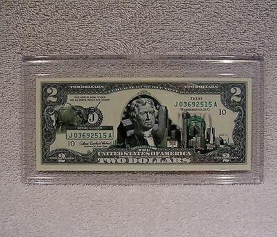 Texas  $2 Two Dollar Bill - Colorized State Landmark - Uncirculated Authentic