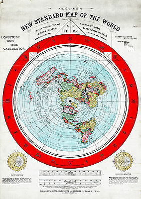 "16""x23"" Flat Earth Map New Standard of the World Alexander Gleason 1892 Poster"