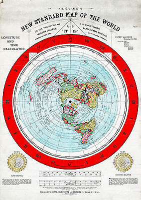 "Flat Earth Map of the World by Alexander Gleason made 1892 Poster Size 16""x23"""