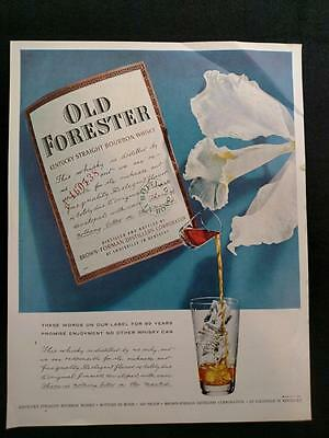 1958 Old Forester Kentucky Straight Bourbon Whiskey Vintage Magazine Print Ad