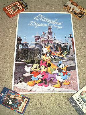 Vintage 1990 Disneyland 35 Years Of Magic Poster Mickey,minnie,donald, & More