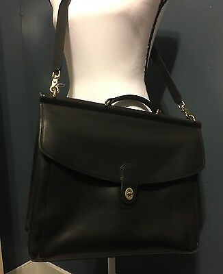 Coach Metropolitan Black Leather Briefcase Cross Body Laptop Bag Vintage