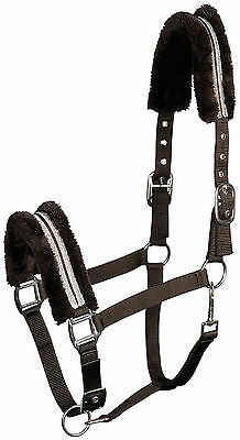 Harry's Horse Halfter Set Black Diamond Halfter+Strick Kunstfell gepolstert