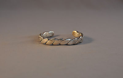 """Old Heavy Navajo Indian Bracelet - Thick Sterling Silver Twisted 3/8"""" Wide Band"""