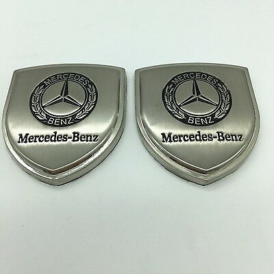2pcs Metal Emblem Side Badge Sticker Decal Fender Hood Trunk fit for Merced-Benz