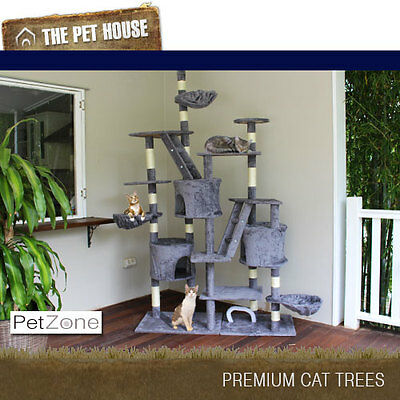 NEW Princeton Grey luxury Cat Tree Scratching Post Pole Furniture House 270cm