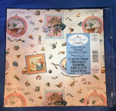 Hallmark MARJOLEIN BASTIN Vera the Mouse Wrapping Paper New In Package 1997