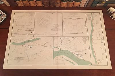 Large Original Antique Civil War Map DEFENSES of MEMPHIS NASHVILLE Tennessee TN