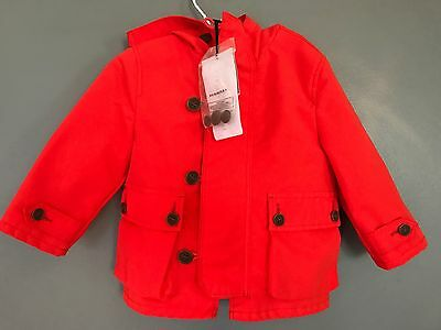 Burberry Baby Coat Jacket Red 9-12 Months BNWT Infant Toddler Children Brand New