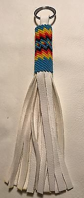Beautiful New Native American Lakota Sioux Beaded Leather Keychain