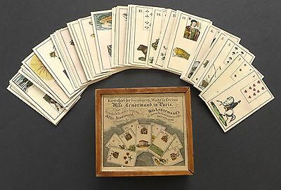 Old Lenormand Fortune Telling Cards in Wooden Box