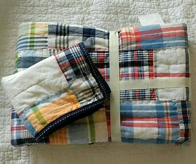 Pottery Barn Kids Boys MADRAS Nursery Crib Quilt Toddler Quilt & Sham Set