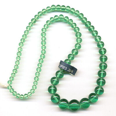 "Vintage Green Beads Graduated Translucent Glass 18"" Long Made in Occupied Japan"