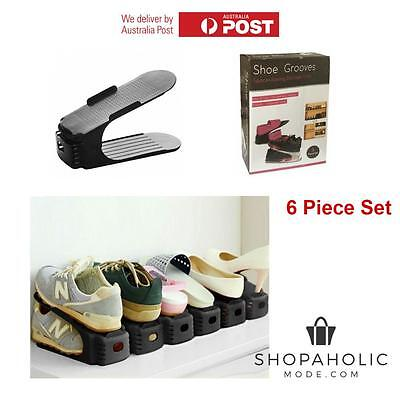 6 x Shoe Grooves Stackable Shoes Rack Space Saving Organiser Portable Storage