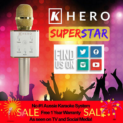 K Hero SUPERSTAR Portable Karaoke KTV Microphone System Wireless Speaker