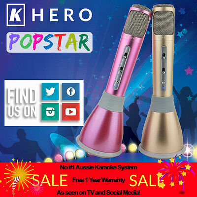 K Hero POPSTAR Portable Karaoke KTV Microphone System Wireless Speaker